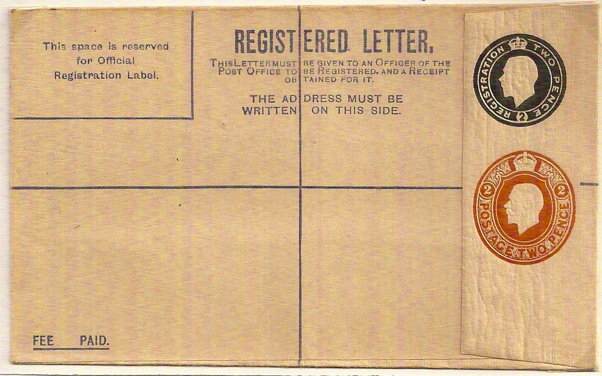 1920 Revalued Forces KGV 2d black Registered envelope with additional 2d die