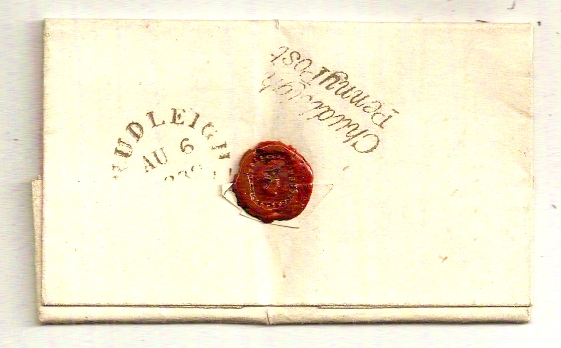 1839 Scarce CHUDLEIGH PENNY POST on entire to Lympstone