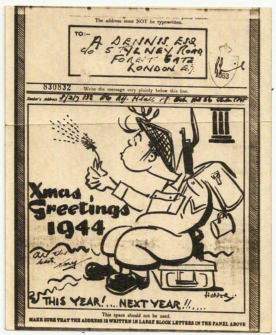 1944 Xmas Greetings pictorial airgraph soldier/dandelion CMF to London
