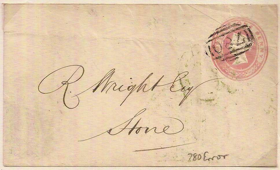 1853 STAFFORD 780 Error of Numeral QV 1d Pink Postal Stationery Env