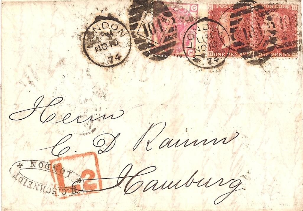 1874 L2 late fee marking on surface-printed cover to Germany