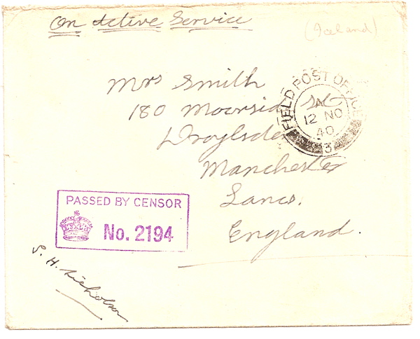 1940 Field Post Office 3 censored cover: Iceland to UK