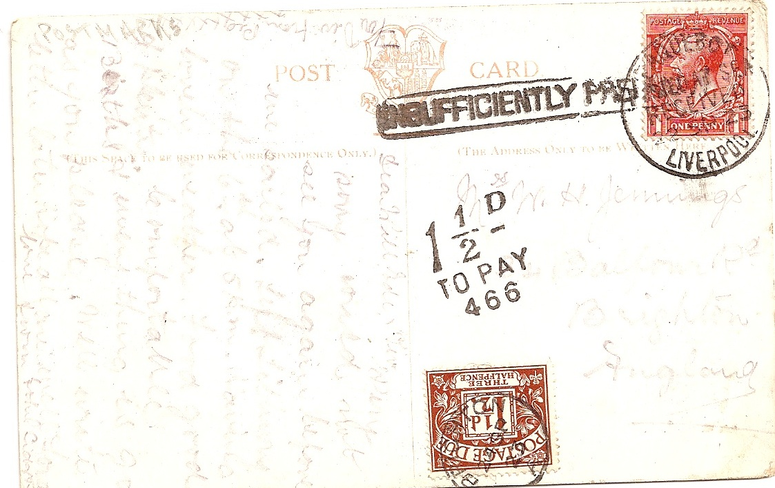 1923 PAQUEBOT LIVERPOOL 1 1/2d Postage due and other markings