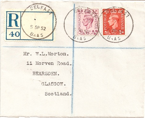 1952 Belfast BAAS skeleton on registered cover