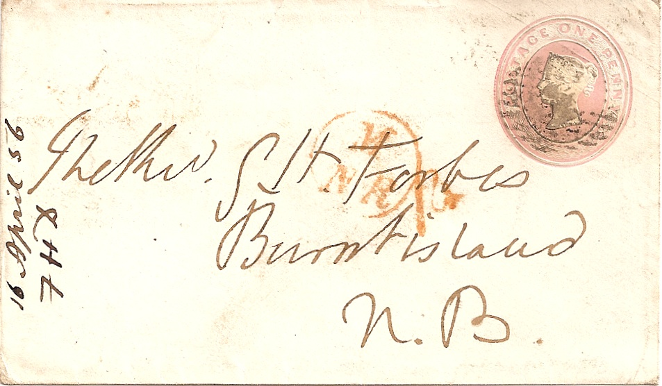 1856 Queen Victoria 1d postal stationery envelope: M/NR in red