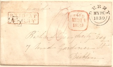 1839 Derry outer: PAID AT DERRY and No 5 Receiving House marks