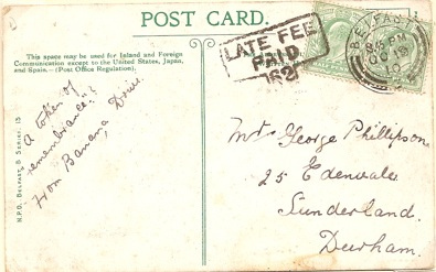 1910 Blarney Castle PPC used Belfast with LATE FEE PAID 62 mark