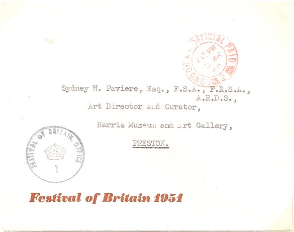 1950 Official Cachet No 1 FESTIVAL OF BRITAIN OFFICE on Exhibition envelope