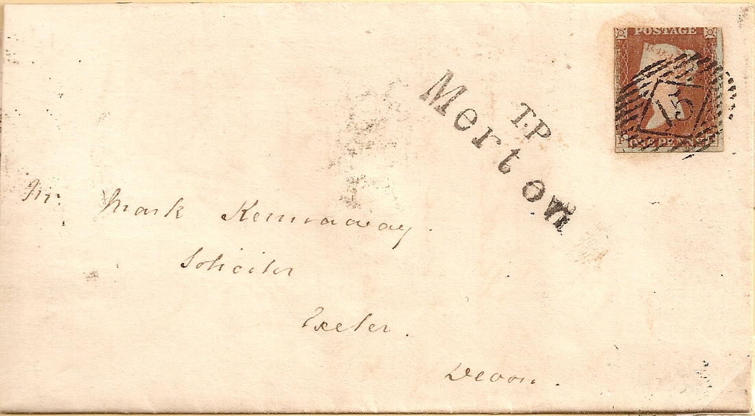 1844 Entire: rare TP Merton Receiving House mark on 1d imperf