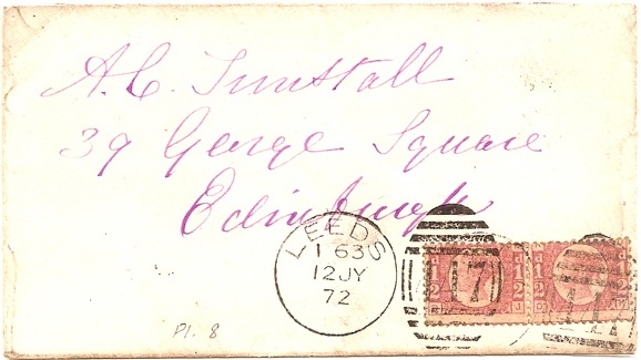 1872 Fine Pair of Plate 8 Queen Victoria 1/2d stamps on cover