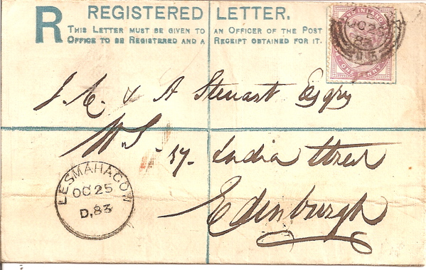 1883 LESMAHAGOW small Scottish skeleton on scarce type registered envelope
