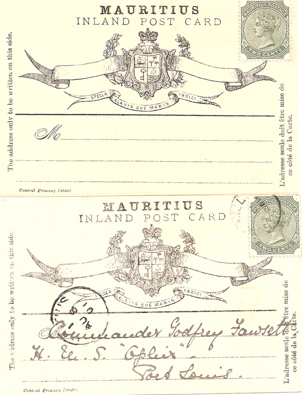 1901 Mauritius Special Inland postcard w/2c adhesive: 1 mint, 1 used