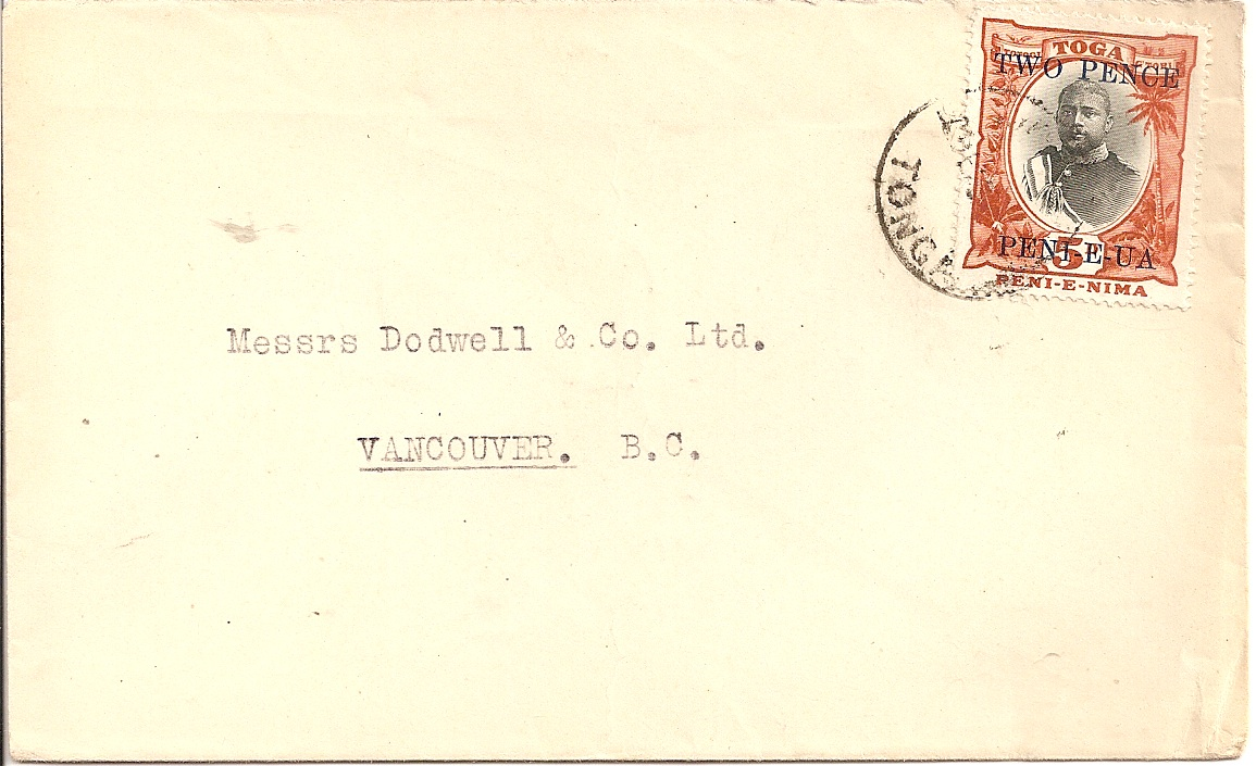 1923 Tonga 2d on 5d adhesive used on cover to Vancouver
