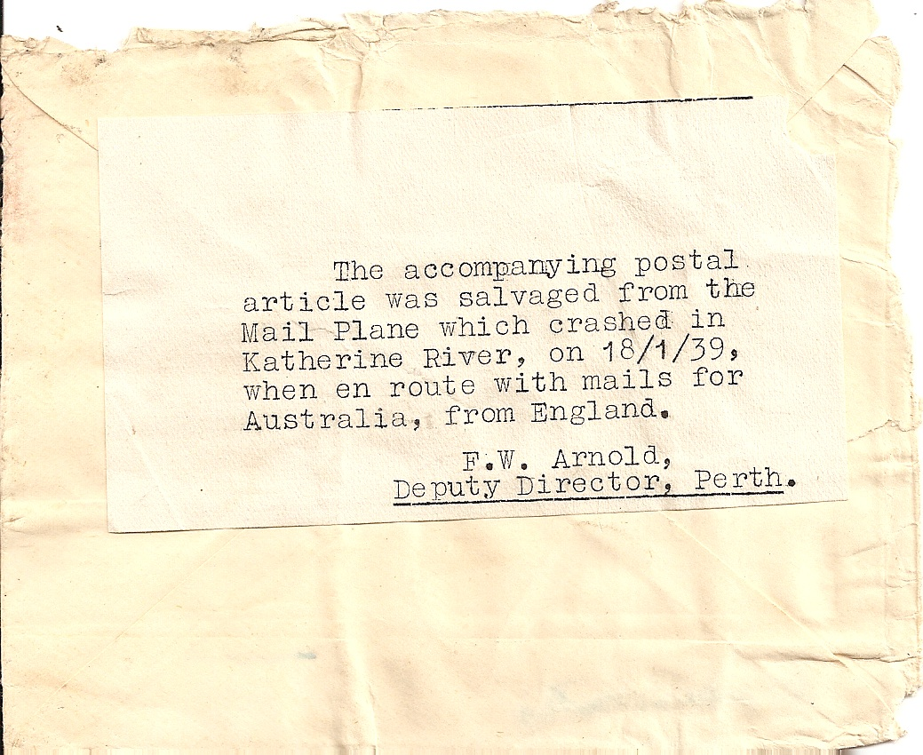1939 Katherine River mail plane wreck cover: UK to Perth, Western Australia
