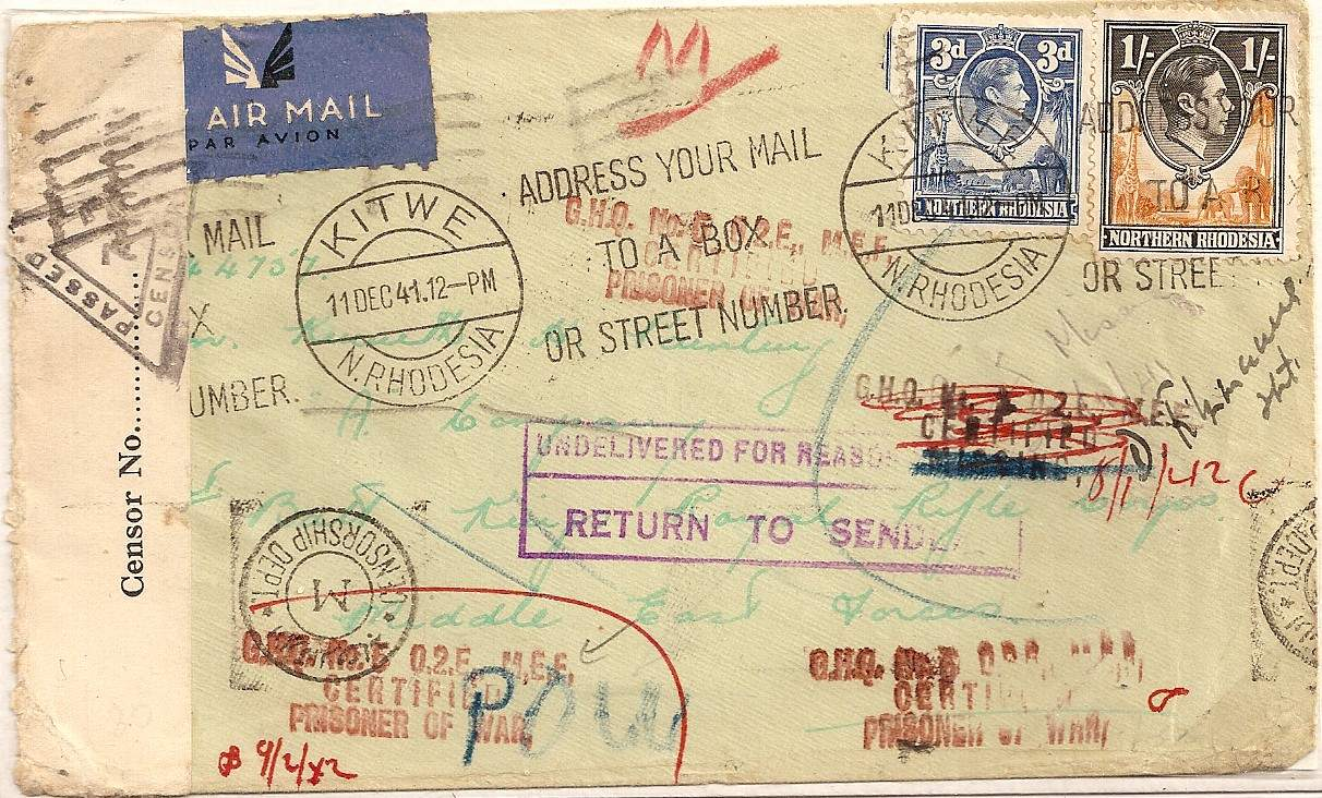 1941 Northern Rhodesia airmail cover to MEF soldier POW