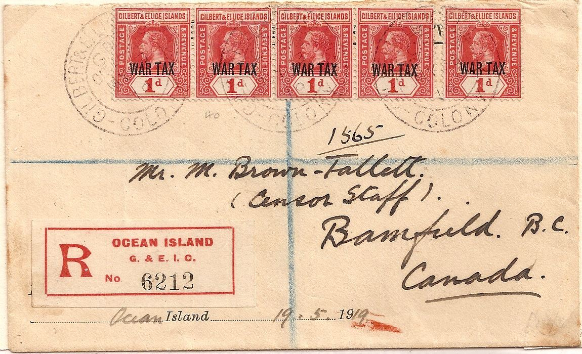 1919 Gilbert & Ellice Islands 5 x 1d King George V stamps overprinted WAR TAX registered to Canada