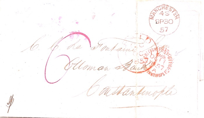 1857 Manchester cover paid 6d to Constantinople with BPO Paid pmk