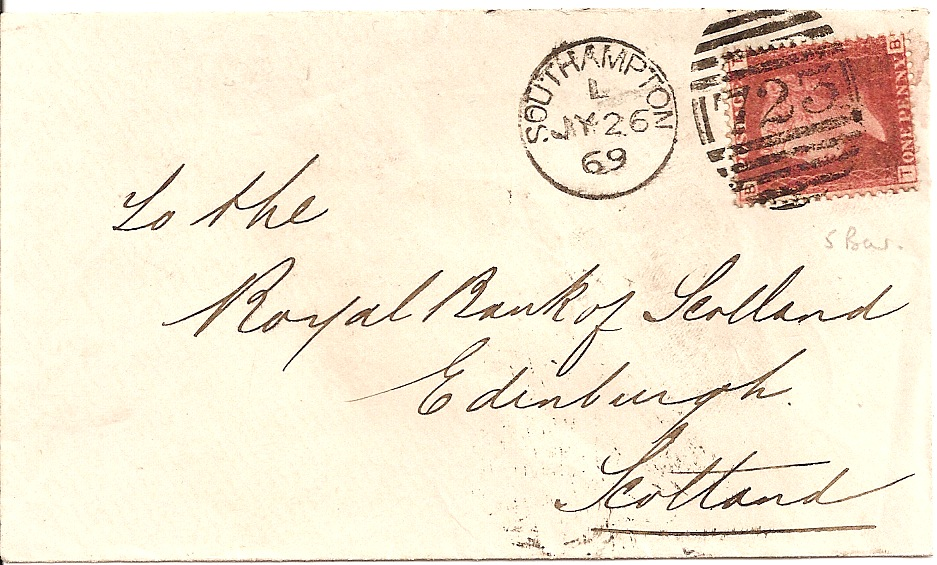 1869 Southampton 723 5 bar duplex on 1d plate no. cover