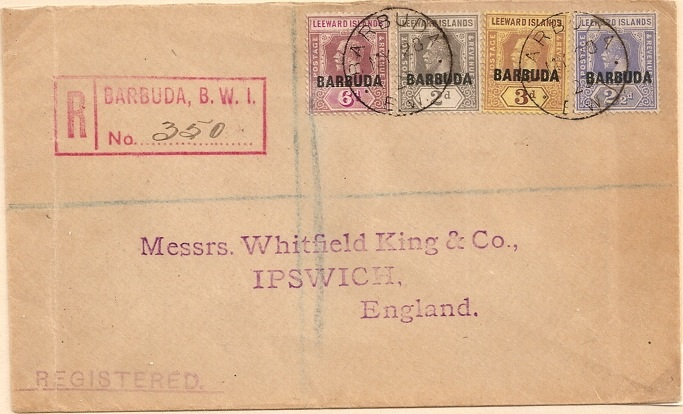 1923 Barbuda BWI registered cover with overprinted Leeward Islands adhesives