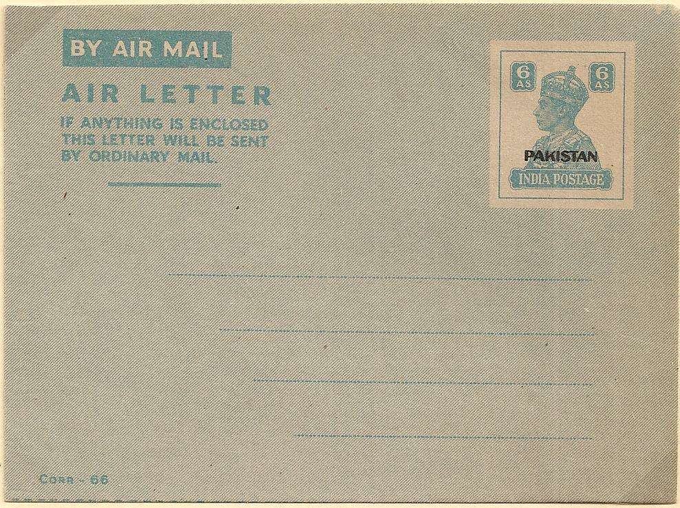 1947 Pakistan 6 anna Indian airletter overprint - unused