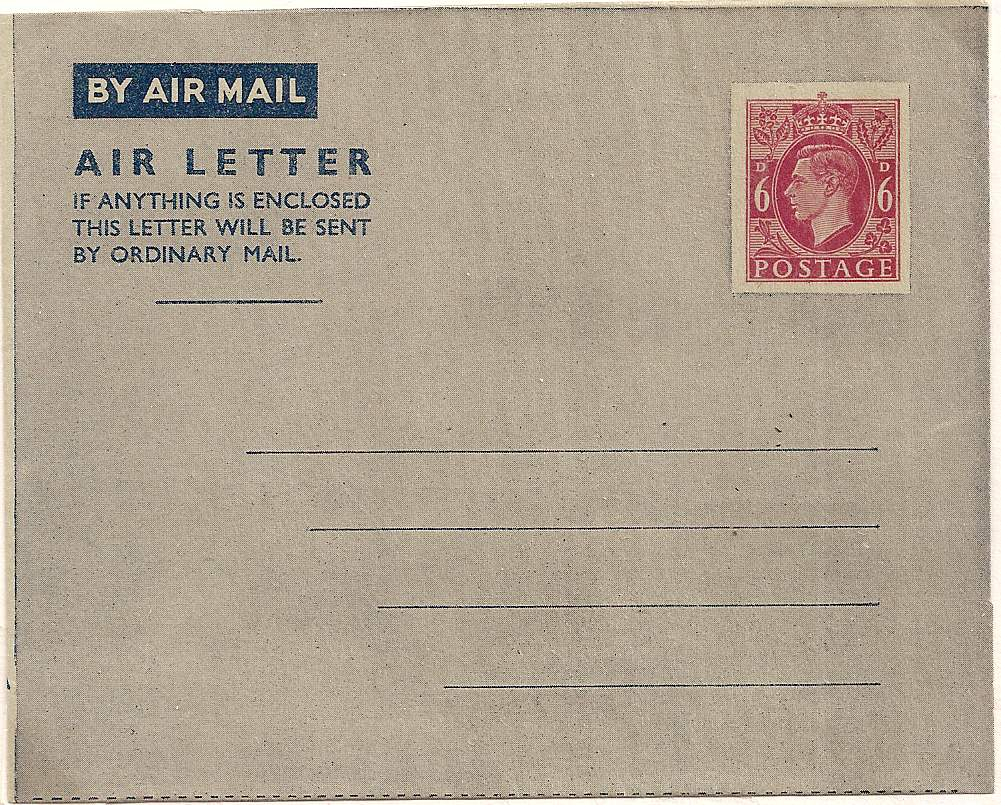 1943 King George VI 6d airletter sheet with solid address lines - unused