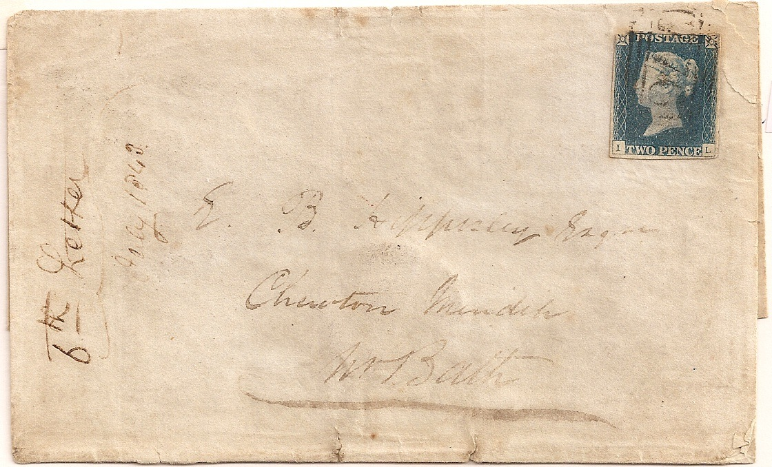 1844 2d blue used Taunton 776 late use - damaged corner
