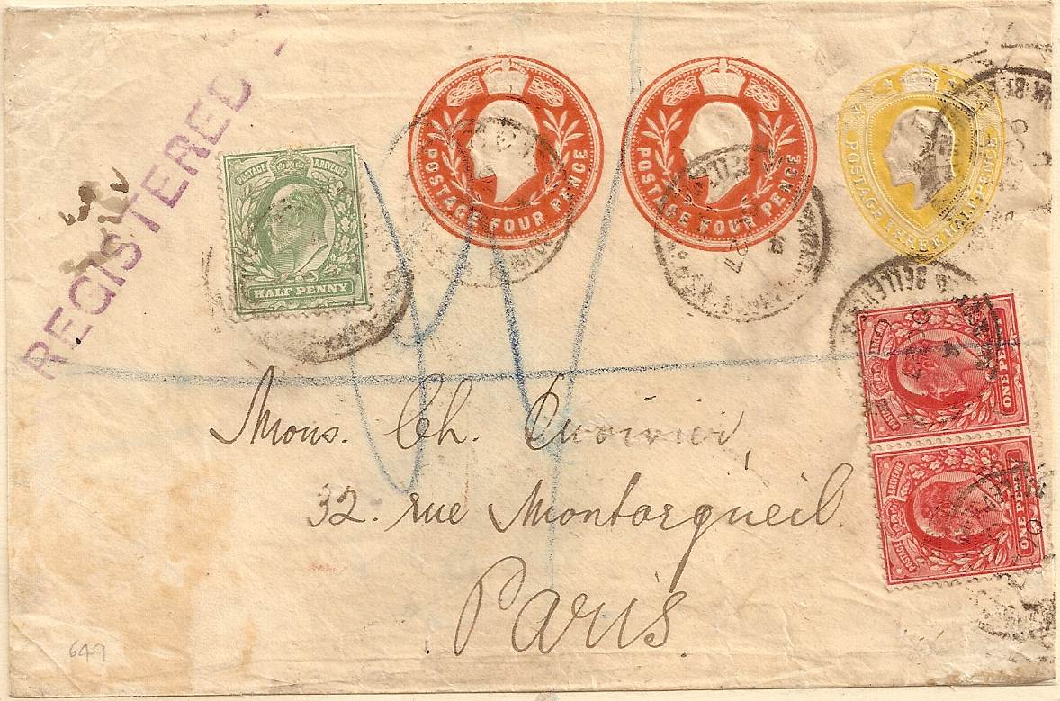 1905 King Edward VII STO env: 1½d+4d+4d plus additional adhesives