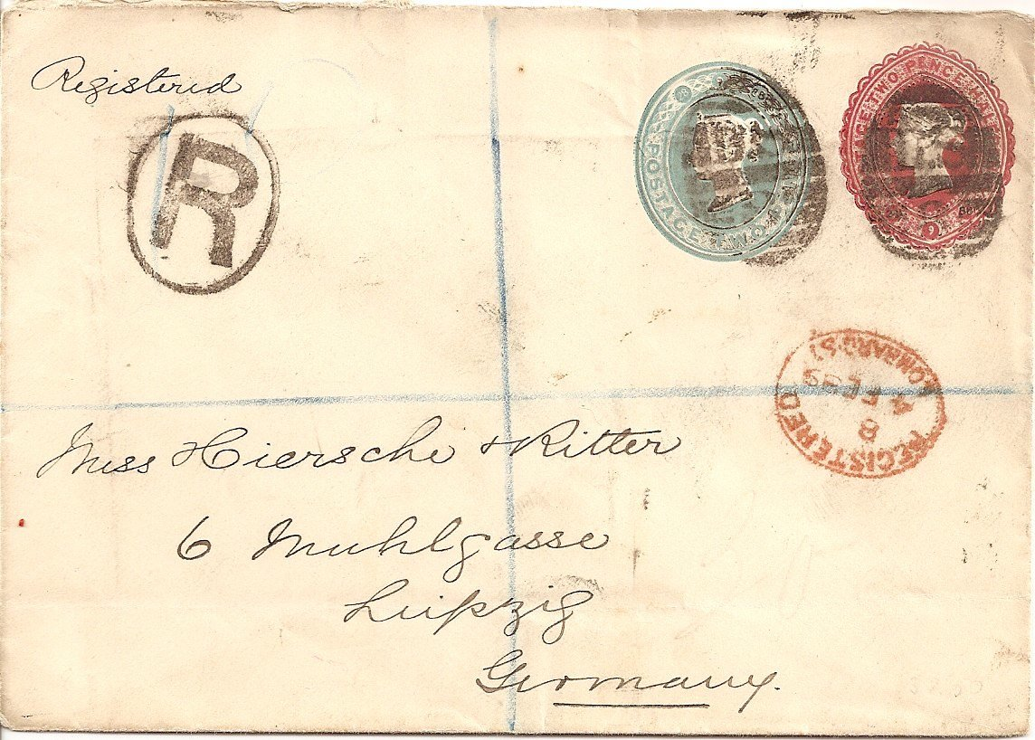 1889 QV compound stamped to order 2½d+2d envelope registered to Germany
