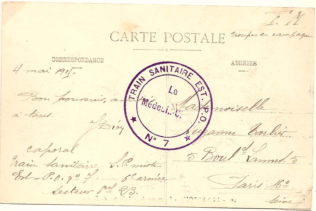 1915 France PPC with superb TRAIN SANITAIRE postmark
