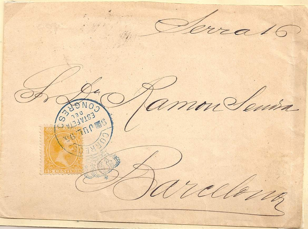 1895 Spain Crown Circle of ESTAFETA DEL CONGRESO in blue on cover