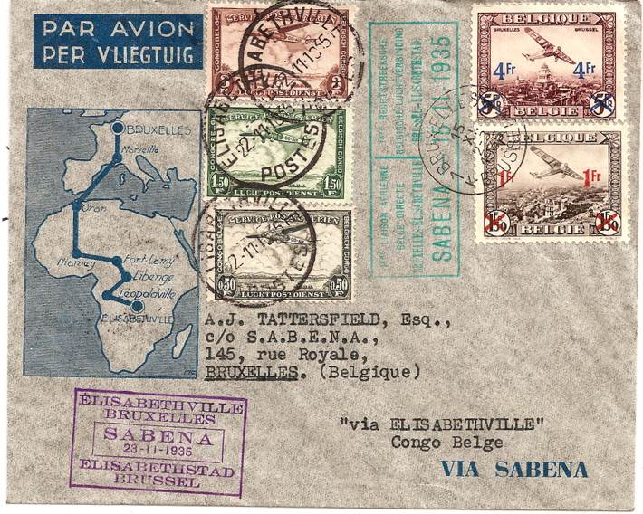 1935 Belgium to Belgian Congo airmail envelope: return trip on Sabena