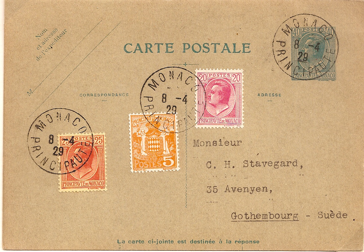 1929 Monaco 40c reply postcard used to Sweden with additional adhesives