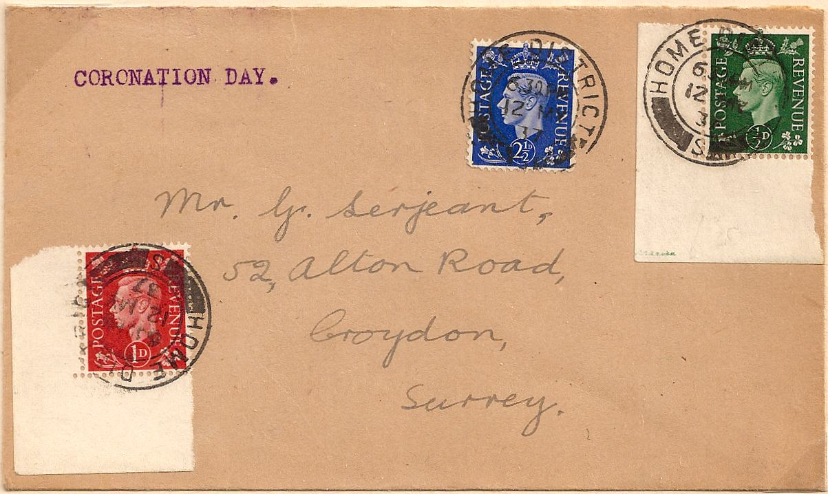 1937 Scarce HOME DISTRICT S London datestamp used on Coronation Day