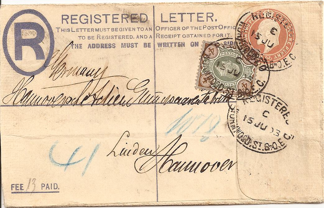 1903 King Edward VII 3d registered envelope with additional 4d adhesive