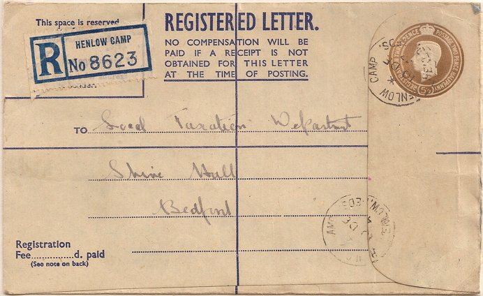 1947 King George VI registered letter scarce size G - blue inside with Henlow Camp postmark