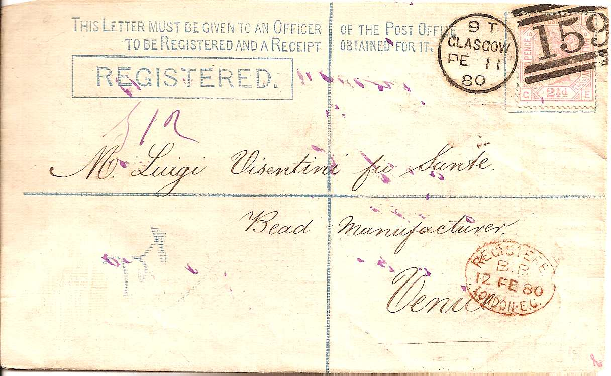 1880 Queen Victoria 2d blue registered envelope Glasgow to Venice 2 1/2d pl 16