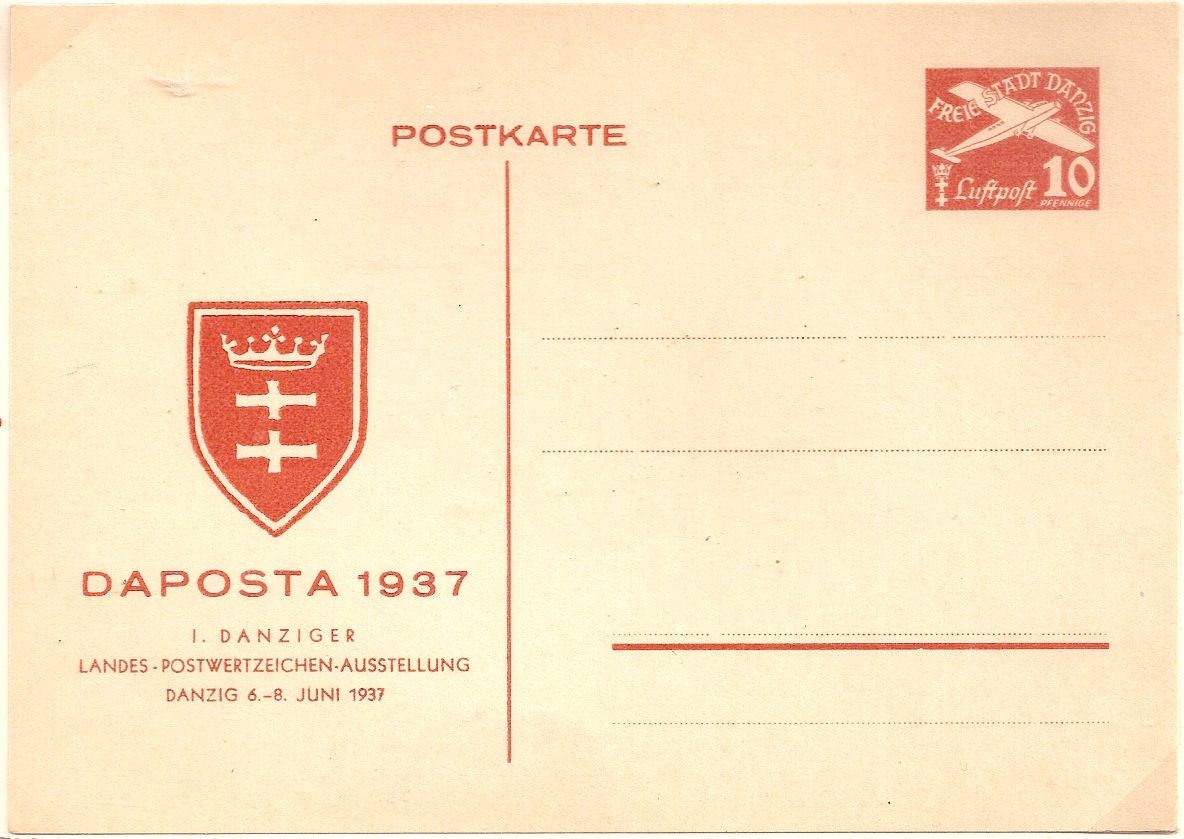 1937 Danzig 10pf postal stationery postcard for DAPOSTA 1937