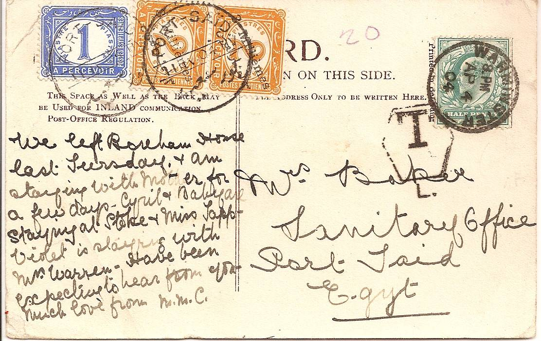 1904 Underpaid UK to Egypt PPC with rare overprinted Egyptian postage due stamps