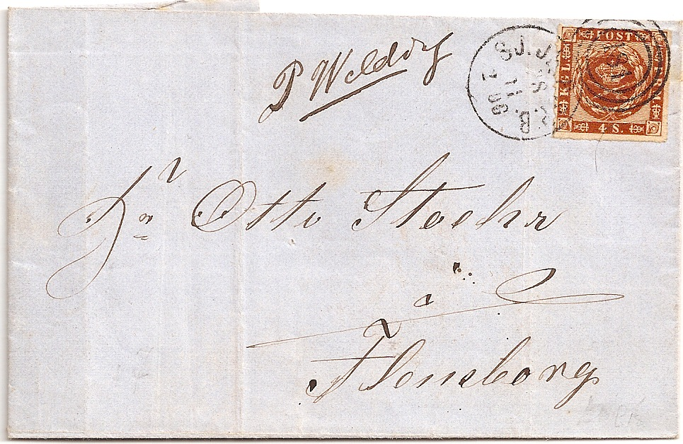 1863 Denmark 4S stamp with 181 TPO duplex on cover