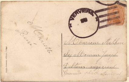 1919 Belgium Post-WW1 temporary datestamp used Verviers: American style