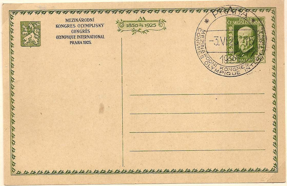 1925 Special Olympic Congress Prague postal stationery postcard and postmark