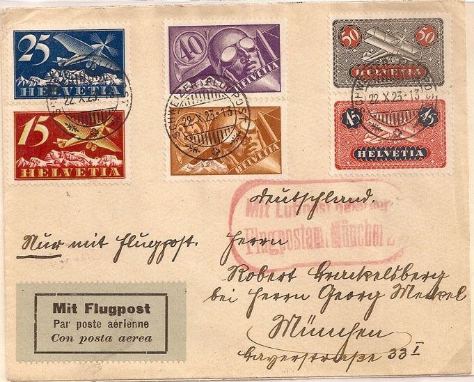 1923 Switzerland flight cover with airmail set (x6) to Munich