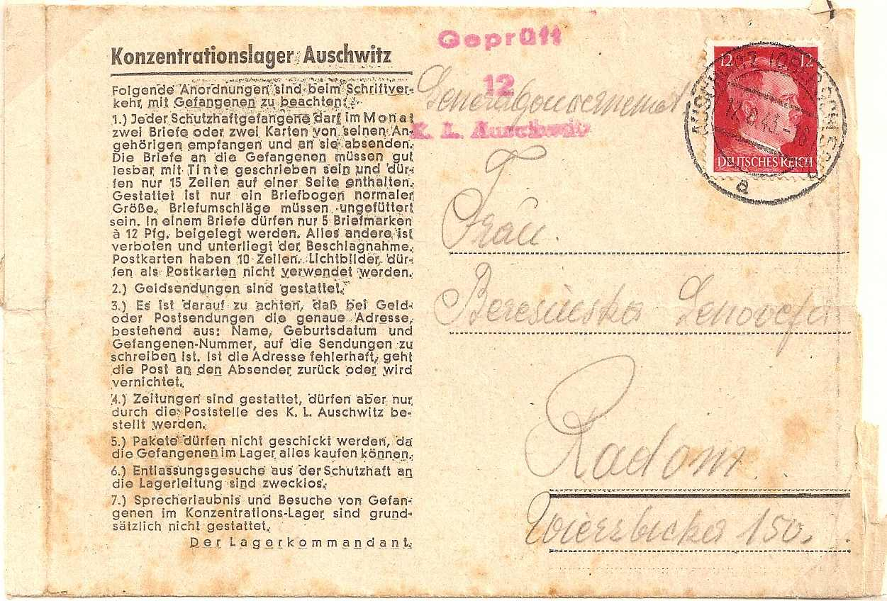 1943 Auschwitz Concentration Camp lettersheet sent to Radom, Poland