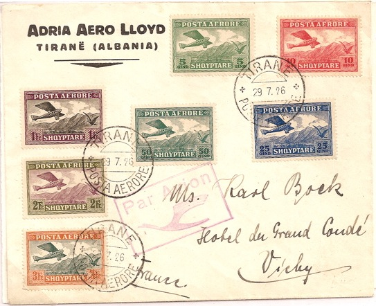 1926 Albania airmail set of 7 stamps: 5qind to 3Fr on Aero Lloyd cover