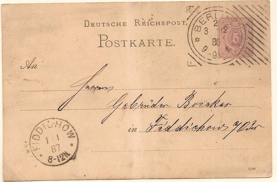 1886 Berlin Hoster cancellation on postal stationery postcard