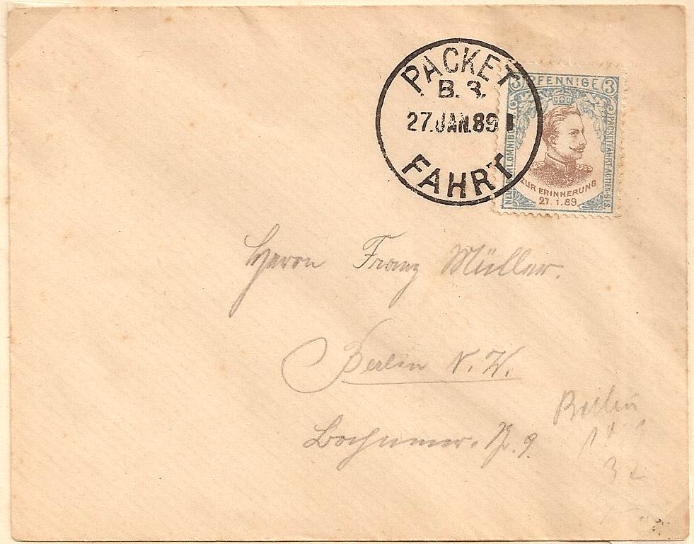 1889 German 3pf local stamp on Berlin cover