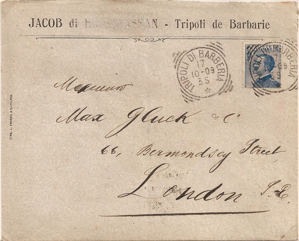 1909 Italy used in Tripoli de barbarie squared circle: addressed to London