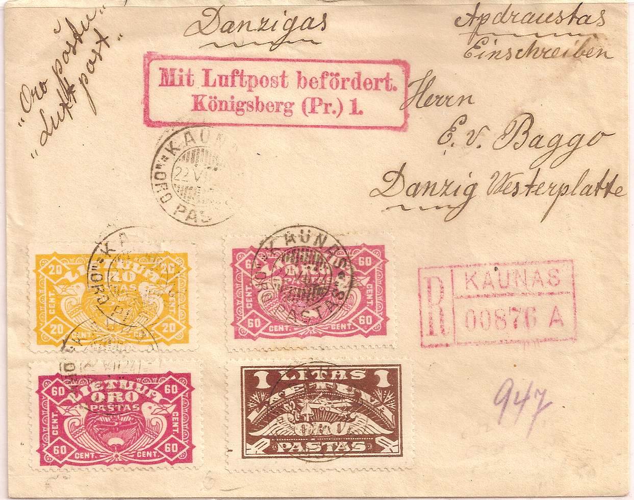 1924 Lithuania airmail set on flown registered cover: Kaunas to Danzig
