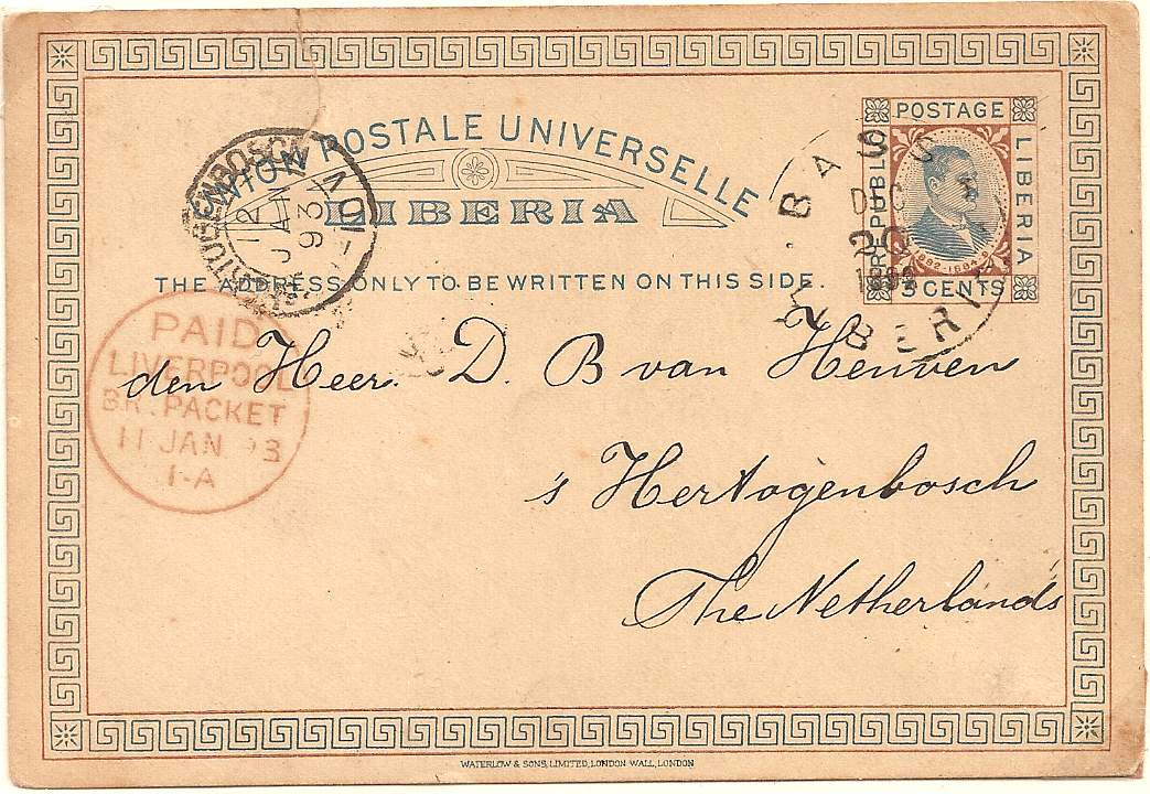 1892/93 Liberia 3c postal stationery postcard used BASSA to Netherlands: Liverpool Packet transit