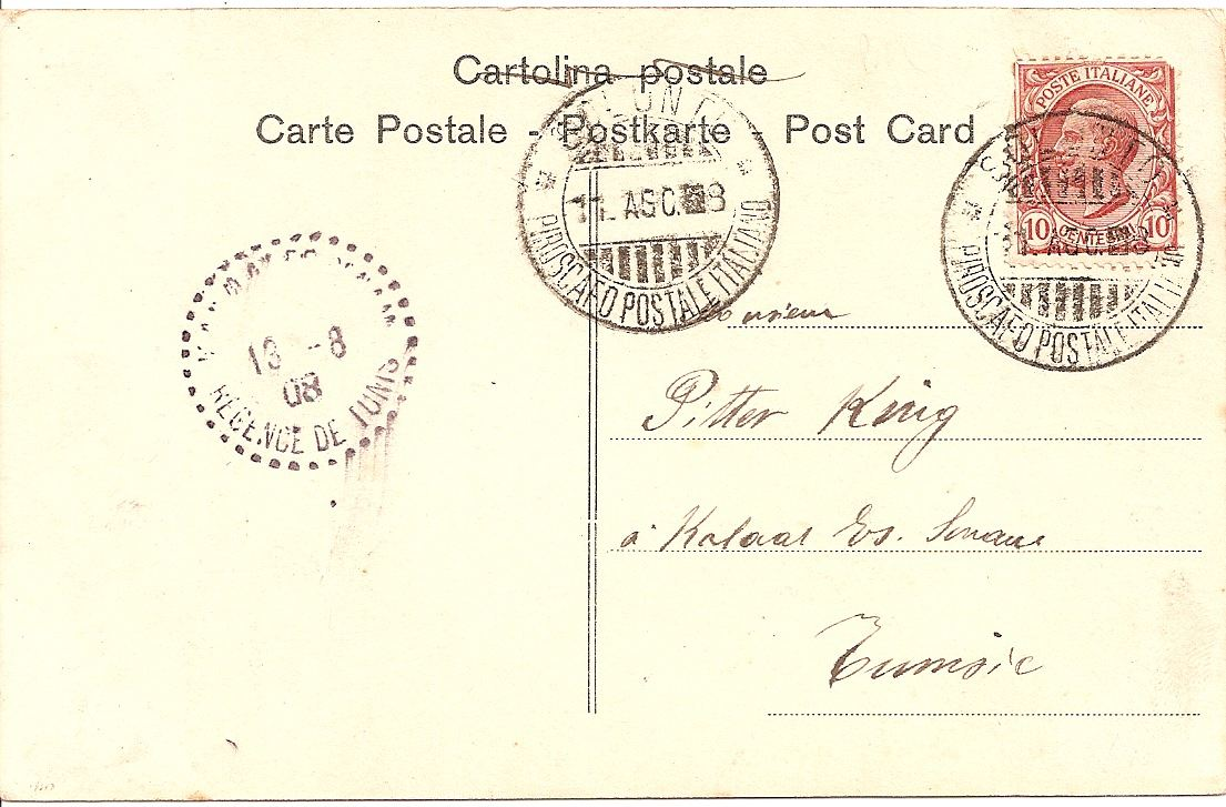1908 Italian PPC Palermo used on board
